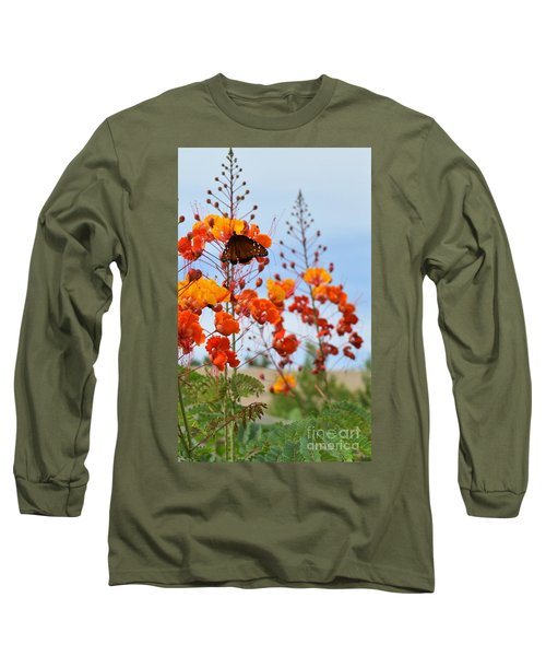 Butterfly On Bird Of Paradise Long Sleeve T-Shirt