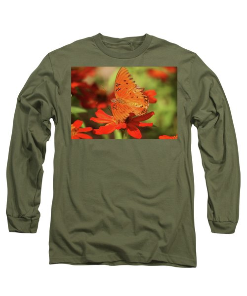 Long Sleeve T-Shirt featuring the photograph Butterfly On Flower by Donna G Smith