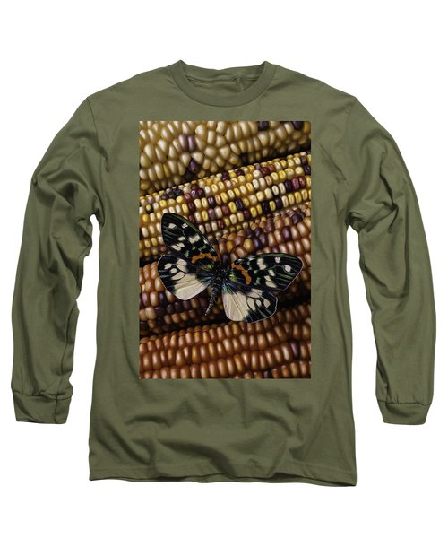 Butterfly On Indian Corn Long Sleeve T-Shirt