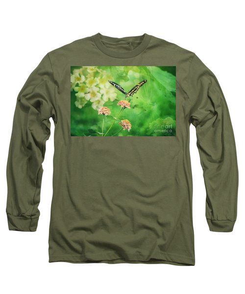 Butterfly On Lantana Montage Long Sleeve T-Shirt by Toma Caul