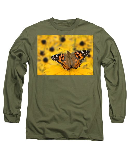 Butterfly On Rudbeckia Long Sleeve T-Shirt by Joe Bonita
