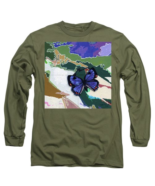 Butterfly Over Great Lakes Long Sleeve T-Shirt