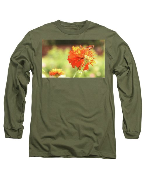 Long Sleeve T-Shirt featuring the photograph Butterfly Peek-a-boo by Donna G Smith