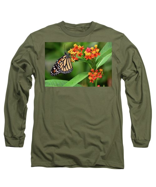 Butterfly Resting On Flower Long Sleeve T-Shirt