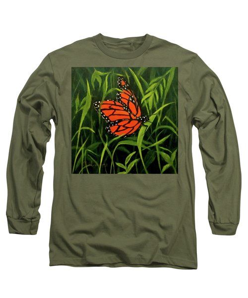 Long Sleeve T-Shirt featuring the painting Butterfly by Roseann Gilmore