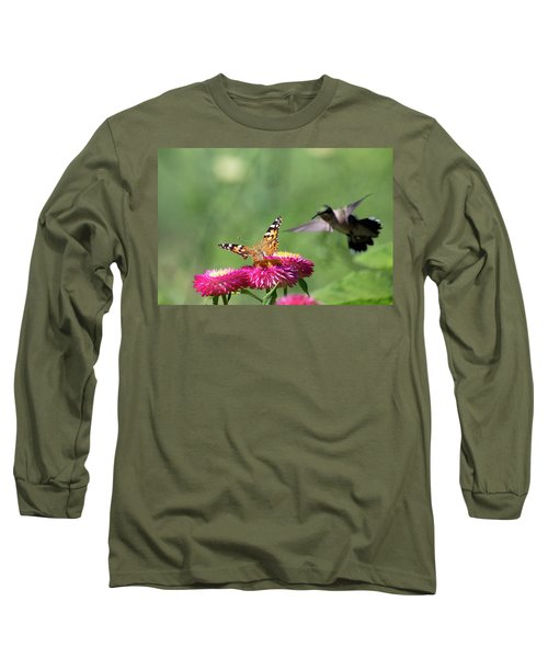 Long Sleeve T-Shirt featuring the photograph Butterfly Vs Hummingbird 1 by Brian Hale