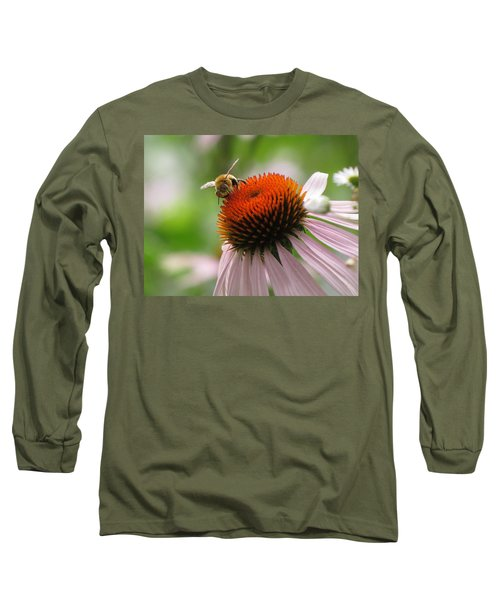 Buzzing The Coneflower Long Sleeve T-Shirt by Kimberly Mackowski