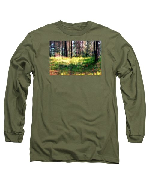 Long Sleeve T-Shirt featuring the photograph Cabin In The Woods In Menashe Forest by Dubi Roman