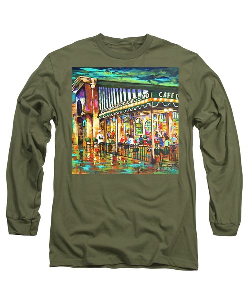 Cafe Du Monde Night Long Sleeve T-Shirt by Dianne Parks