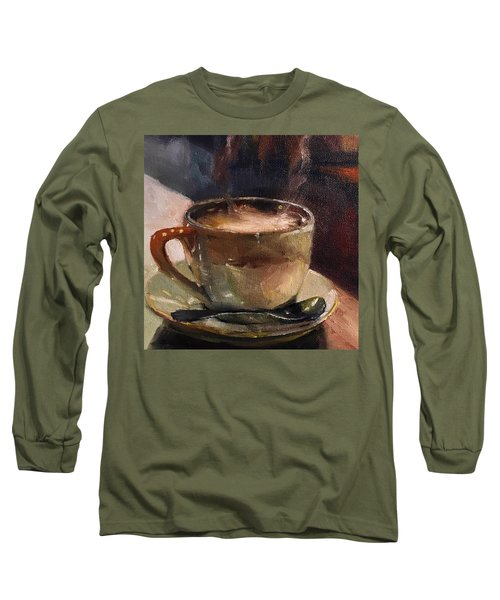Cafe Love Coffee Painting Long Sleeve T-Shirt by Michele Carter
