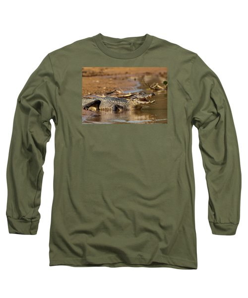 Caiman With Open Mouth Long Sleeve T-Shirt by Aivar Mikko