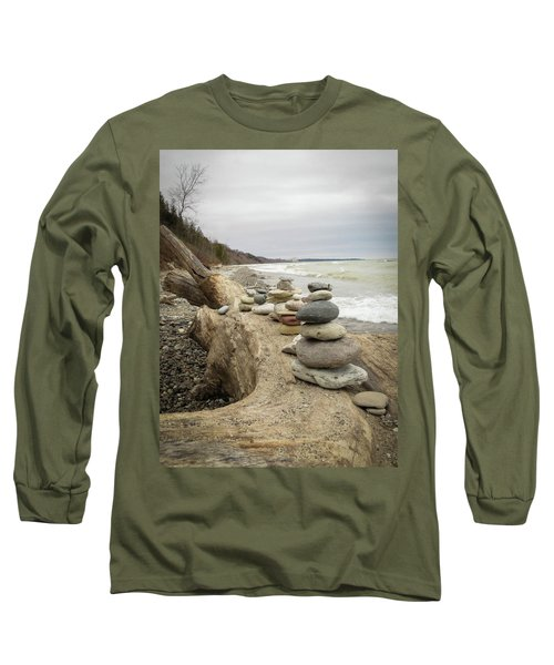 Long Sleeve T-Shirt featuring the photograph Cairn On The Beach by Kimberly Mackowski
