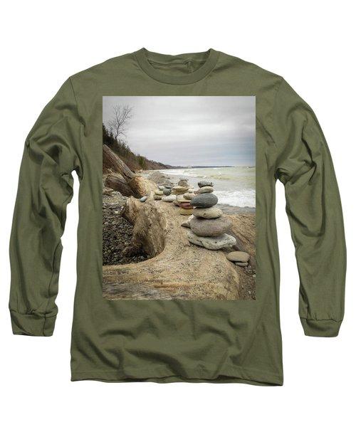 Cairn On The Beach Long Sleeve T-Shirt by Kimberly Mackowski