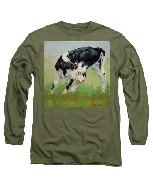 Long Sleeve T-Shirt featuring the painting Calf Contortions by Margaret Stockdale