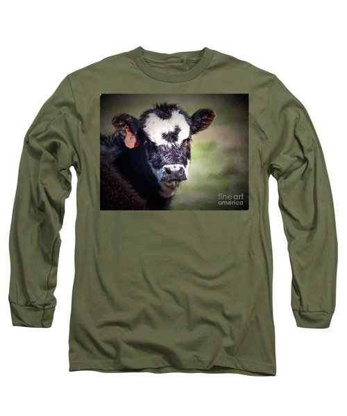 Calf Number 444 Long Sleeve T-Shirt by Laurinda Bowling