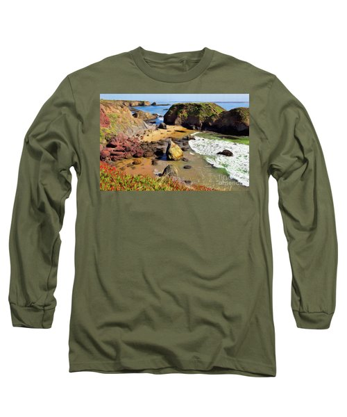 California Coast Rocks Cliffs Iceplant Ap Long Sleeve T-Shirt by Dan Carmichael