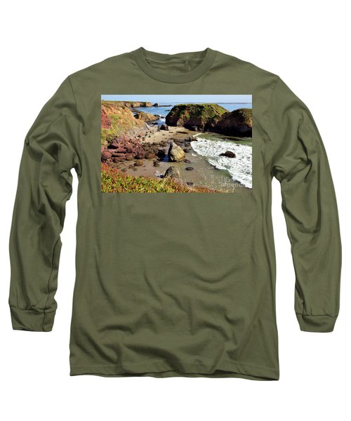 California Coast Rocks Cliffs Iceplant Long Sleeve T-Shirt by Dan Carmichael