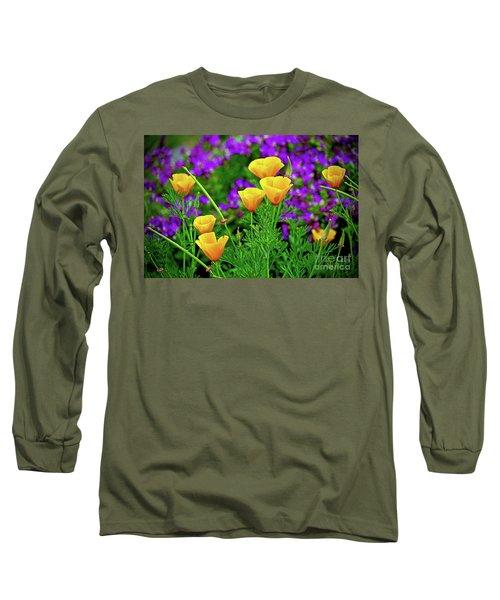 California Poppies Long Sleeve T-Shirt by Michael Cinnamond