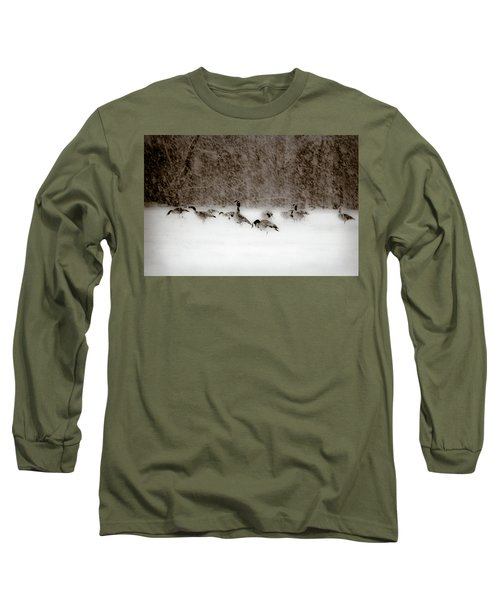 Canada Geese Feeding In Winter Long Sleeve T-Shirt