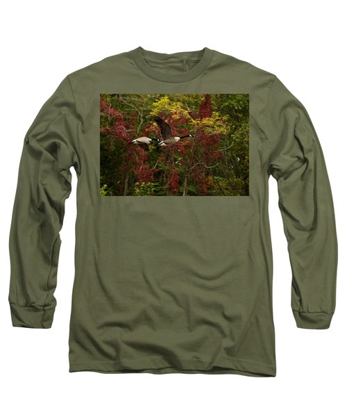 Long Sleeve T-Shirt featuring the photograph Canada Geese In Autumn by Angel Cher