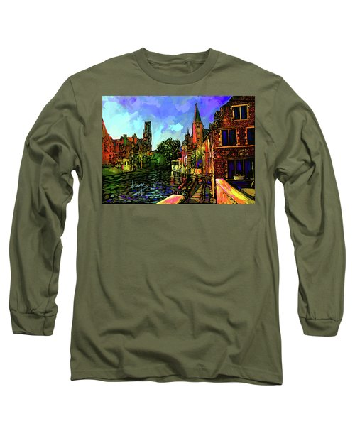 Canal In Bruges Long Sleeve T-Shirt by DC Langer