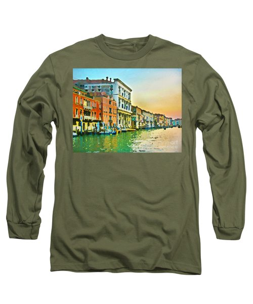 Long Sleeve T-Shirt featuring the photograph Canal Sunset - Venice by Tom Cameron