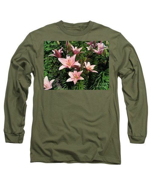 Candy-striped Day Lilies Long Sleeve T-Shirt