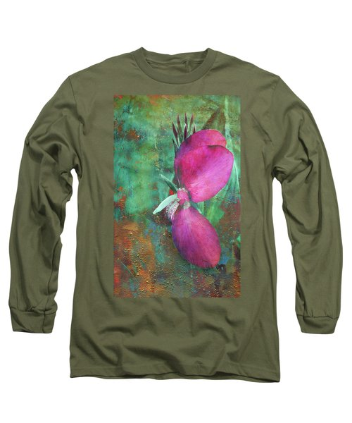 Long Sleeve T-Shirt featuring the digital art Canna Grunge by Greg Sharpe