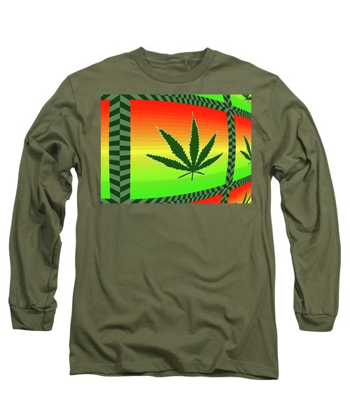 Long Sleeve T-Shirt featuring the mixed media Cannabis  by Dan Sproul