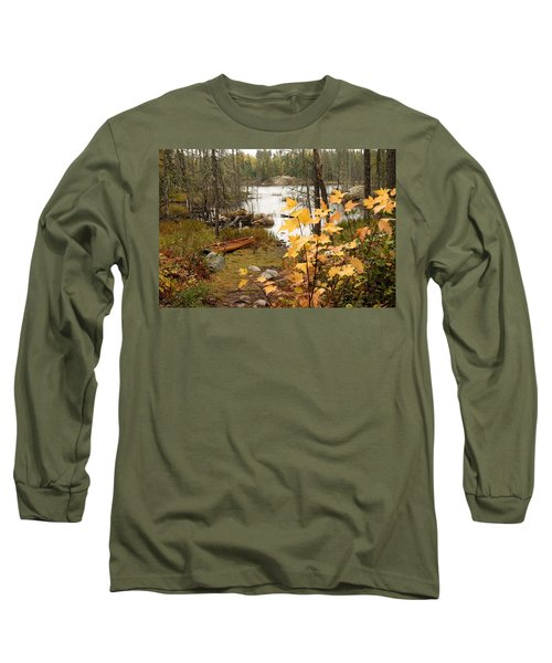 Canoe At Little Bass Lake Long Sleeve T-Shirt