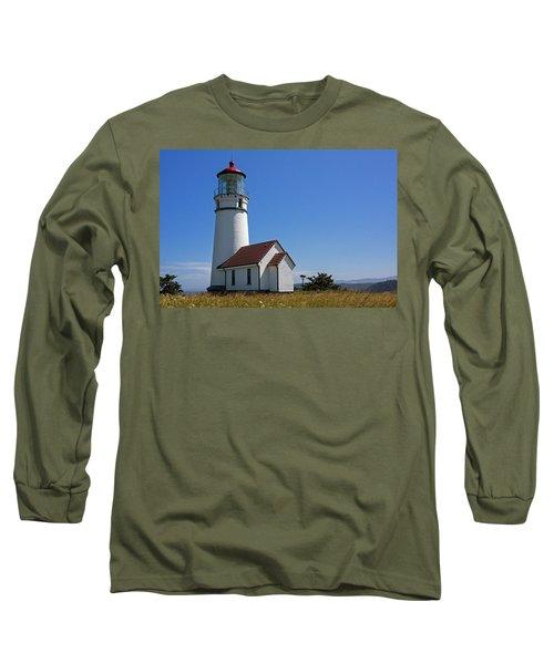Cape Blanco Lighthouse H Long Sleeve T-Shirt by Inge Riis McDonald