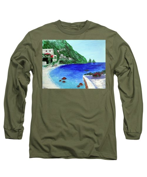 Long Sleeve T-Shirt featuring the painting  Capri by Larry Cirigliano