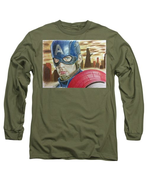 Captain America Long Sleeve T-Shirt by Michael McKenzie
