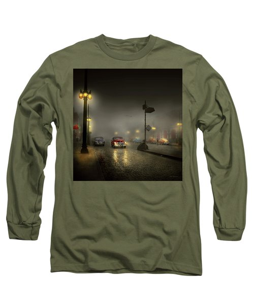 Long Sleeve T-Shirt featuring the photograph Car - Down A Lonely Road 1940 by Mike Savad