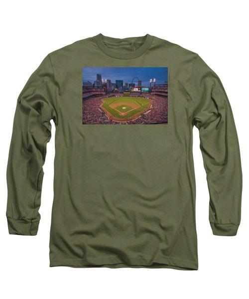 Cardinal Nation Busch Stadium St. Louis Cardinals Twilight 2015 Long Sleeve T-Shirt by David Haskett