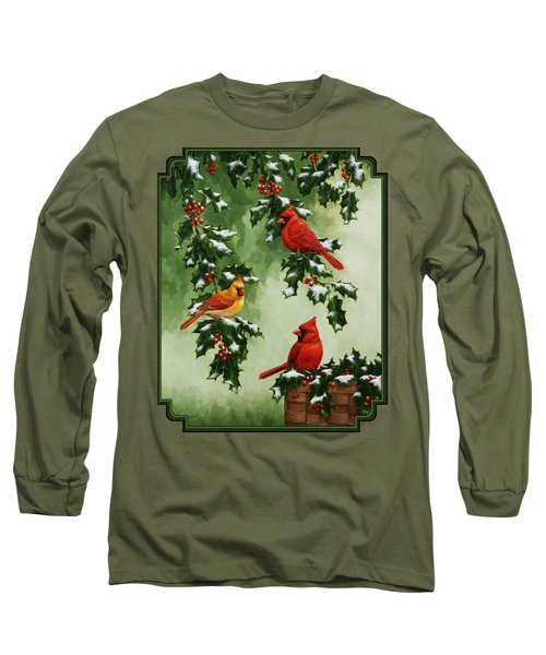 Cardinals And Holly - Version With Snow Long Sleeve T-Shirt by Crista Forest