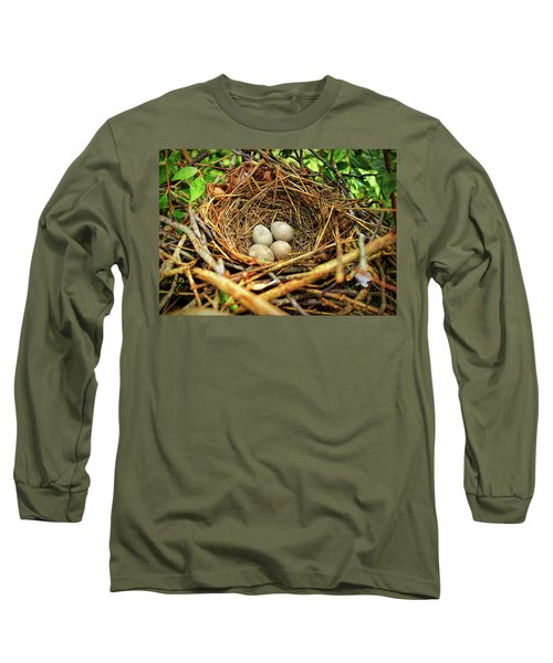 Brown Thrasher Nest And Eggs Long Sleeve T-Shirt by Bellesouth Studio