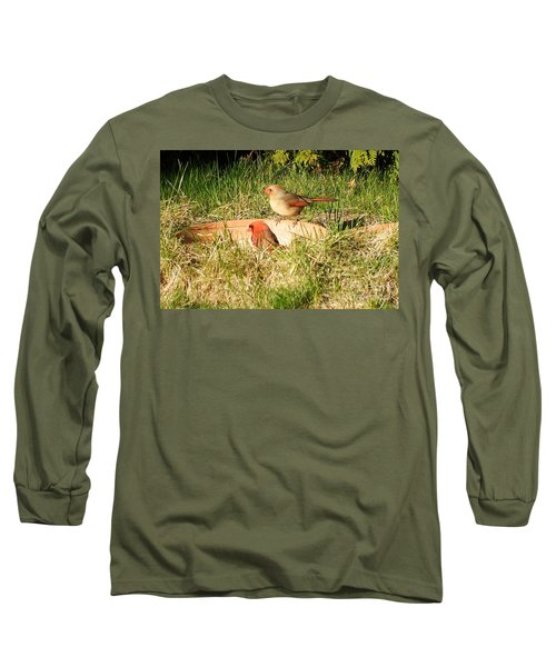 Long Sleeve T-Shirt featuring the photograph Cardinals by Vicky Tarcau