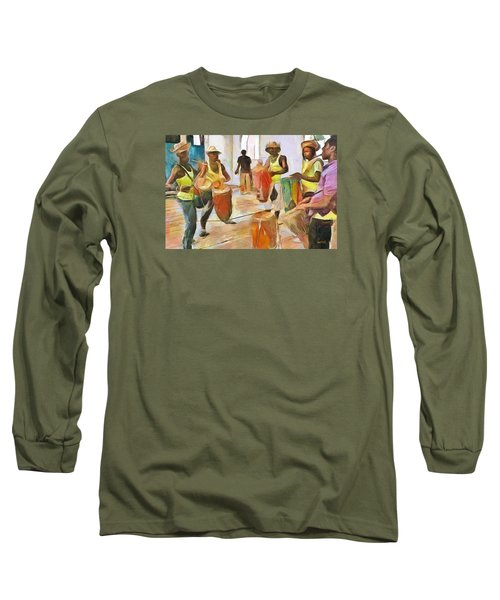 Long Sleeve T-Shirt featuring the painting Caribbean Scenes - Folk Drummers by Wayne Pascall