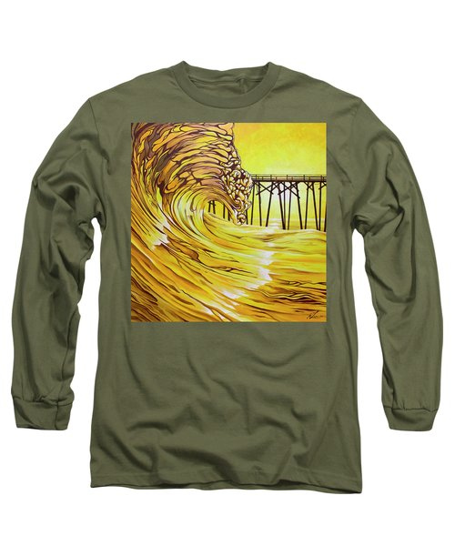 Long Sleeve T-Shirt featuring the painting Carolina Beach North End Pier by William Love