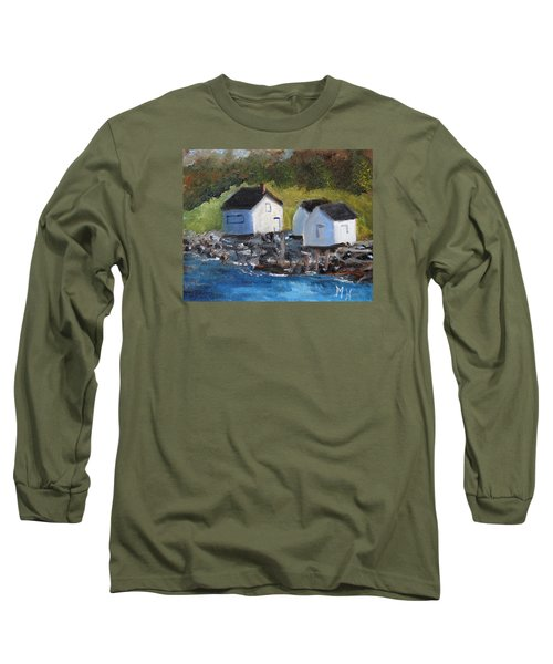 Long Sleeve T-Shirt featuring the painting Casco Bay Boat Houses by Michael Helfen