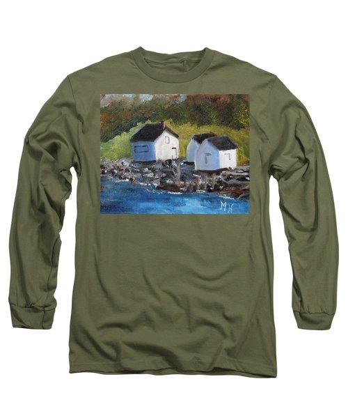 Casco Bay Boat Houses Long Sleeve T-Shirt