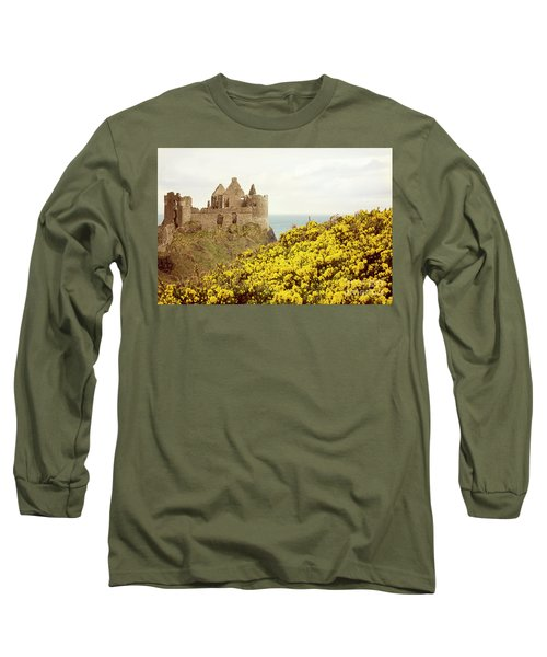 Long Sleeve T-Shirt featuring the photograph Castle Ruins And Yellow Wildflowers Along The Irish Coast by Juli Scalzi