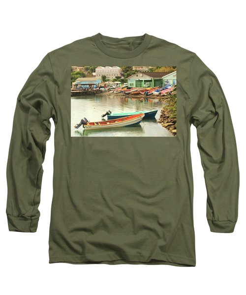 Long Sleeve T-Shirt featuring the photograph Castries Harbor Waterfront by Roupen  Baker