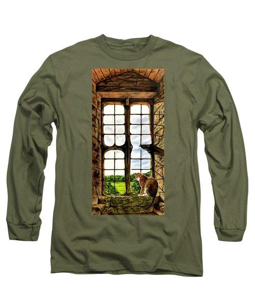 Cat In The Castle Window Long Sleeve T-Shirt
