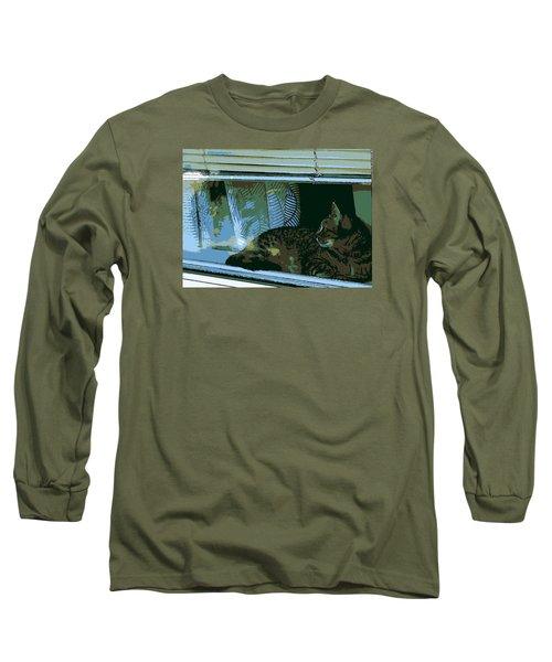 Cat Observing From Window Long Sleeve T-Shirt by John Rossman