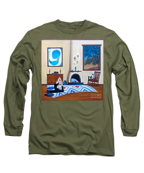 Cat Sitting In Chair Watching Woman Doing Yoga Long Sleeve T-Shirt