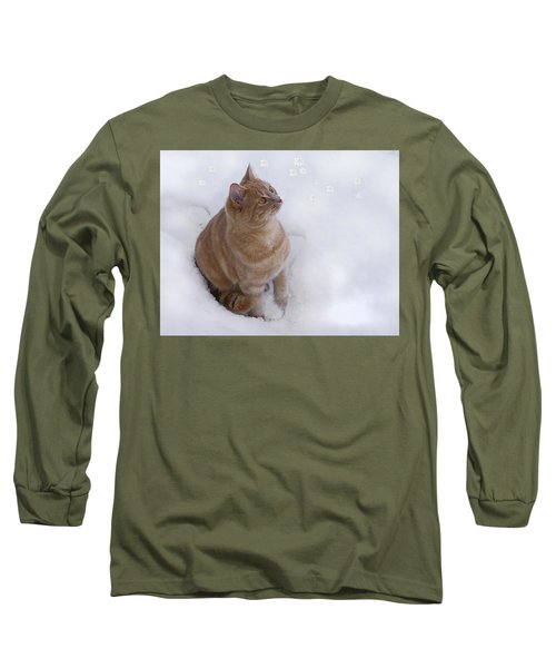 Cat With Snowflakes Long Sleeve T-Shirt