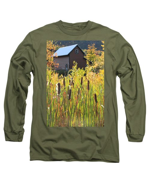 Cattails And Barn Long Sleeve T-Shirt