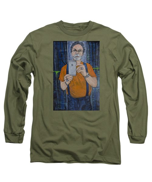 Caught In The Act Of Growing Old Self Portrait Long Sleeve T-Shirt by Ron Richard Baviello